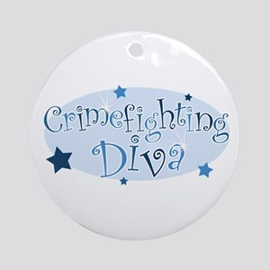 """Crimefighting Diva"" [blue] Ornament (Round)"
